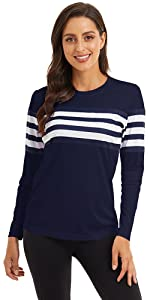 NEYOUQE Women Long Sleeve Crewneck Casual Fitted Shirts Thin Ultra Soft Top