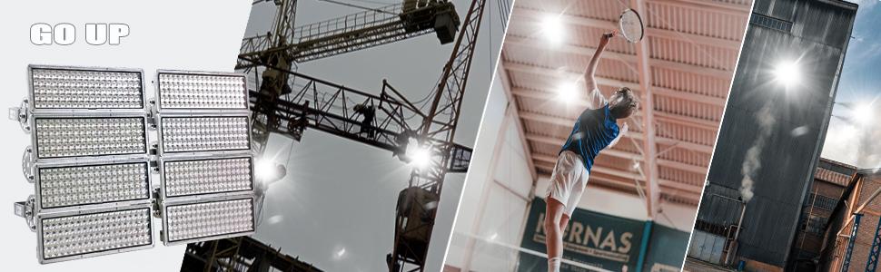 Go up 800W Led Stadium Light 80000lm Super bright 6500K IP67 Waterproof for Court Building Stadium