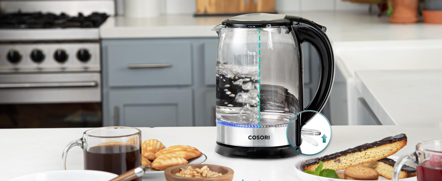 Sip safely with the kettle's automatic shutoff and boil-dry protection features.