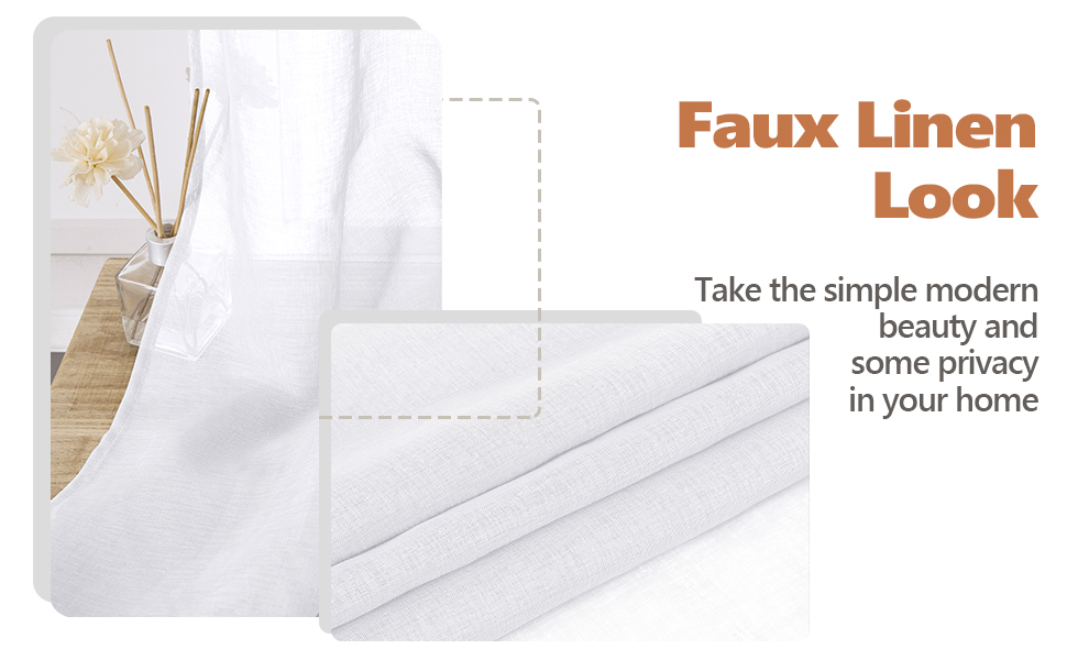white faux linen look sheer curtain, soft touch, light filtering, privacy protecting