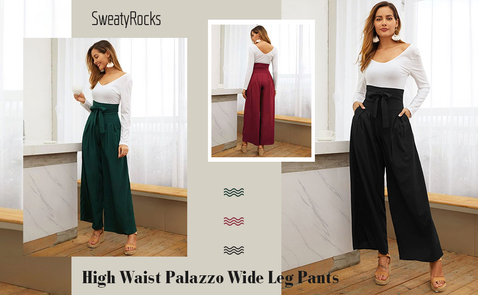 High Waist Belted Wide Leg Pants with Pocket