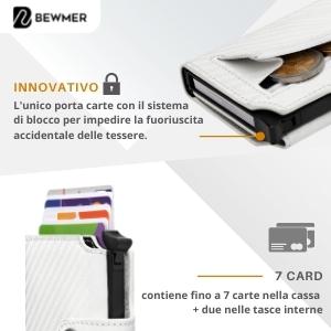 Portafoglio e porta tessere con sistema anticaduta accidentale delle carte di colore bianco Bewmer