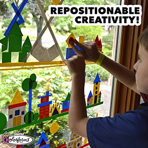 child playing colorforms window repositionable