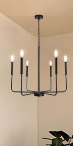 Farmhouse Candle Chandelier Black 6-Light