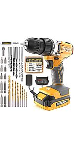 58 Piece 18V Power Drill Driver with Bits Set