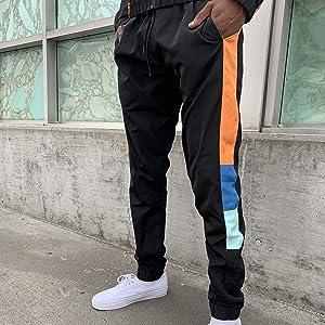 color block windbreaker pants