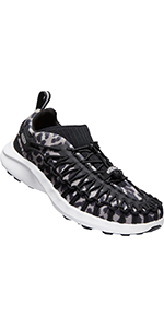 uneek bungee cord mid top sneakers with an athletic sole for women