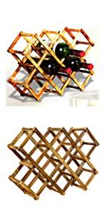 10 slot bamboo wine rack