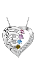 Personalized Mother necklace with 4 Stone Engraved Names