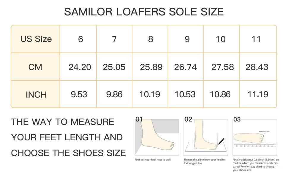 Samilor loafers sole size