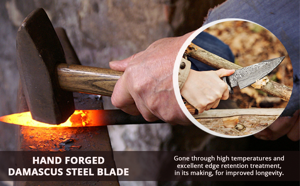 hand forged knife friction forged knife damascus steel knife