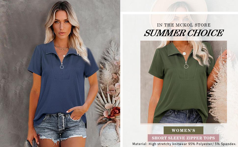 Women's short sleeve zipper tops