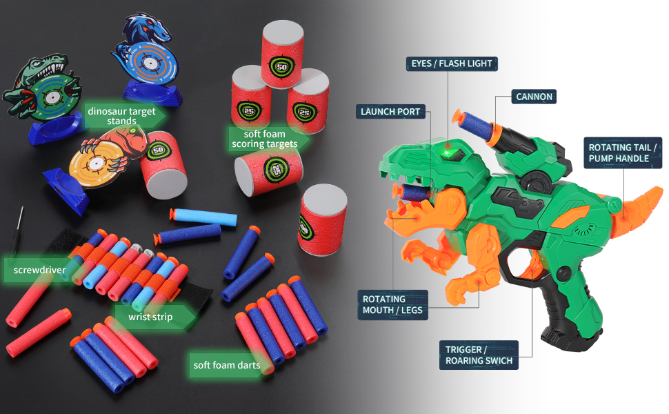 all in one accessories blaster , dinosaur themed shooting game kit