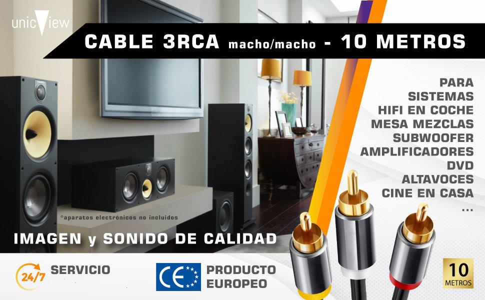 cable rca 10 metros, cable rca bañado en oro, cable rca para amplificador