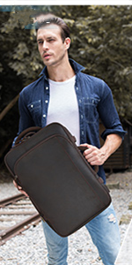 Leather Convertible Briefcase Backpack for Men Expandable 28L Business Travel 15.6 Inch Laptop Bag