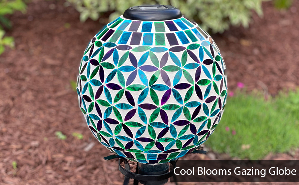 Cool Blooms Glass Mosaic Gazing Globe with Solar Light