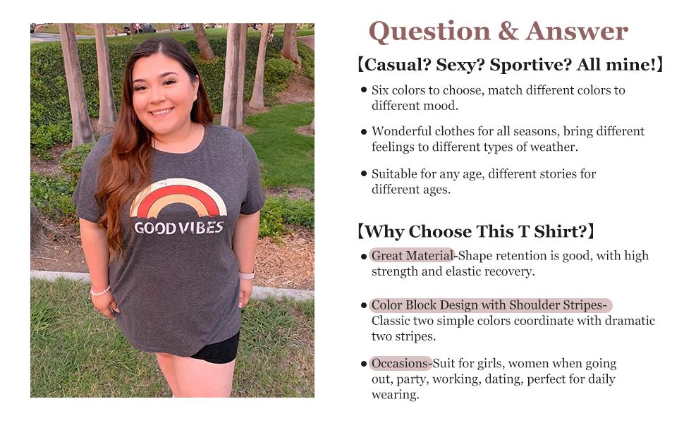 Plus Size Summer Tops for Women Good Vibes Graphic Tees
