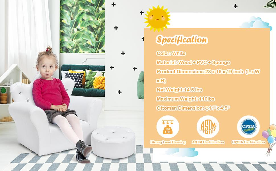 specification of this children sofa with footstool