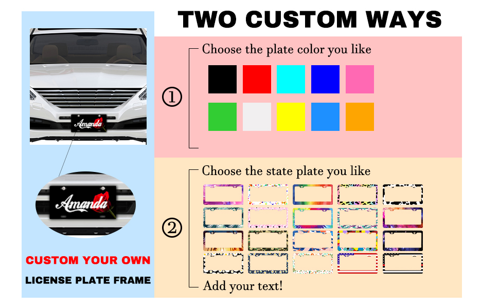 We have not only solid color but also have pattern license plate frame