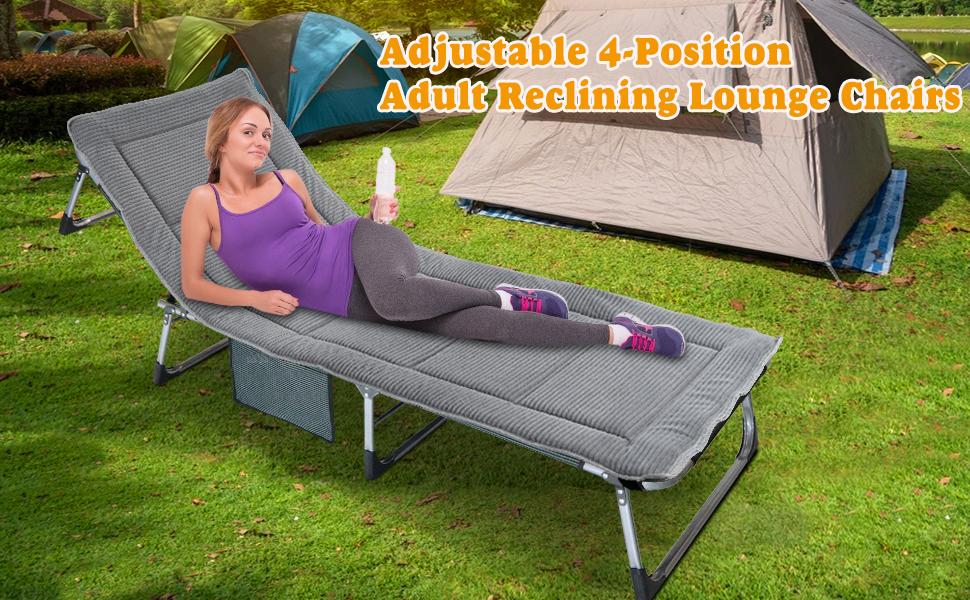 Adjustable 4-Position Portable Folding Cot