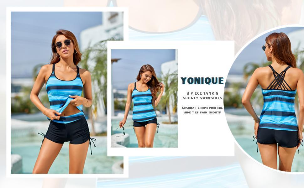yonique tankini swimsuits women tankinis swimwear with shorts