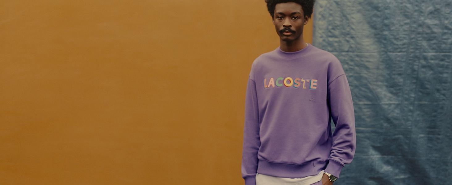 Lacoste purple cotton sweatshirt for men