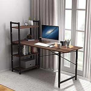Computer Desk Storage Shelves Two Person Desks Workstation with Bookshelf Study Writing Table
