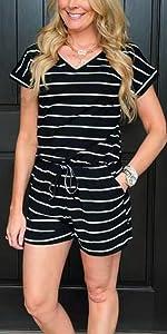striped v neck romper buyer show
