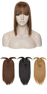 synthetic hair topper with bang