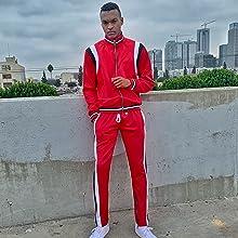 chevy stripe color block track jacket pant set suit