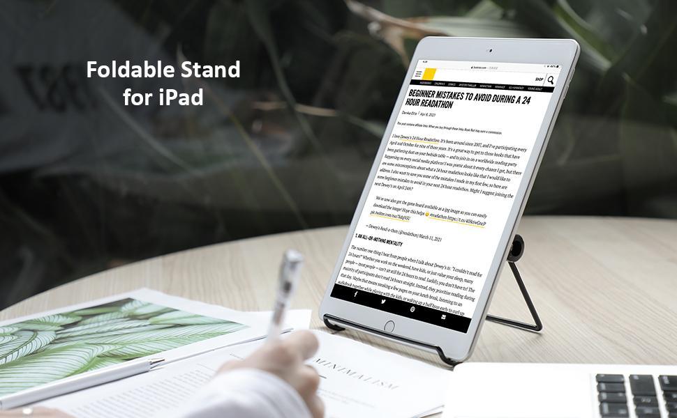 soporte para tablete  memumi Soporte para Tablet, Universal Multi-Ángulo 180° Ajustable Metal Soporte de Tablet Antideslizante Soporte de Escritorio para iPad 10.2 Pro 11 2021 Air 4/para Samsung Tab y Todas Las Tabletas db12a1c4 6ed4 4c62 a361 7f24850c075b