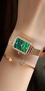 Rose gold green ladies watch quartz movement automatic watch