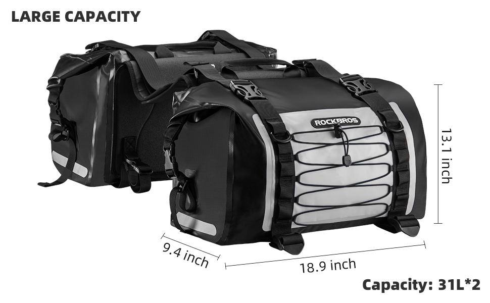 motorcycle side bag size