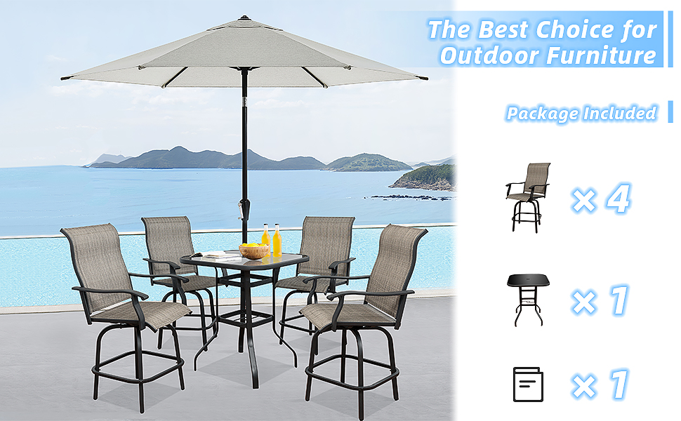 The Best Choice for Outdoor Furniture   Package Included Bar Tools x 4 Table x 1 Manual x 1