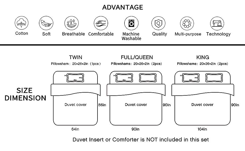 Merryfeel Duvet cover set,3 Pieces Bedding Set