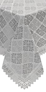 embroidered gray tablecloth reusable buffet farmhouse kitchen pattern square rectangle  dinning