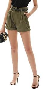 Pantaloncini a Vita Alta Pantaloni Corti Vita Elastico