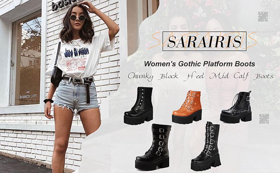Saralris Women's Gothic Platform Boots
