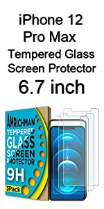 iphone 12 Pro Max Tempered Glass Screen Protector 6.7 inch