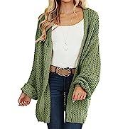 MEROKEETY Women's Open Front Chunky Knit Sweater Oversized Lantern Sleeve Cardigan Outwear