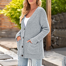 Lookbook Store Fuzzy Popcorn Long Sleeve Cardigan Knit Oversized Sherpa Sweater Pockets Coat