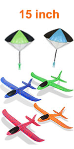 4 pack 15amp;amp;#39;amp;amp;#39; airplanes with 2 parachutes