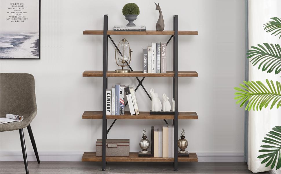4 tier solid wood bookshelf