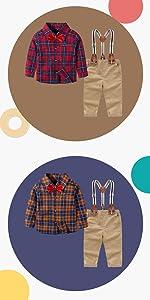 Ropa Bebe Niño Verano Camisa de Manga Corta Bebé Niño Caballero Corbata de Moño y Pantalones
