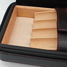 classic portable leather cigar humidor, travel cedar wood lined 4 cigar humidor case