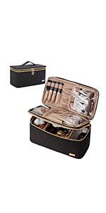 NISHEL Double Layer Travel Makeup Bag