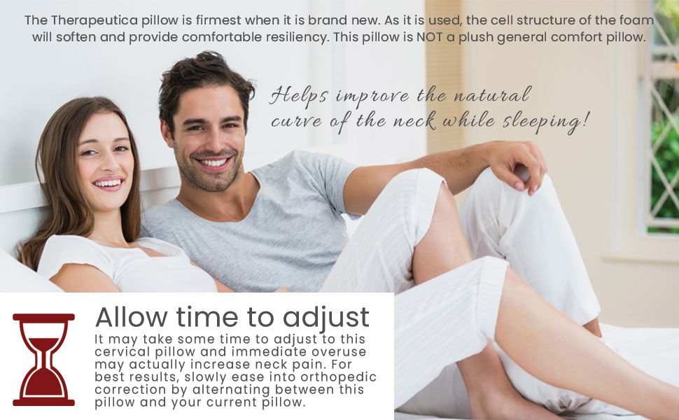 Firm pillow when brand new. Allow time to adjust, alternate between this pillow and current pillow.