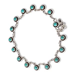 NOVICA,Sterling Silver,Link,Anklet,Jewelry,Metal,Blue,Gift,Chain,For Ankle,For Women,Gemstones,Pearl