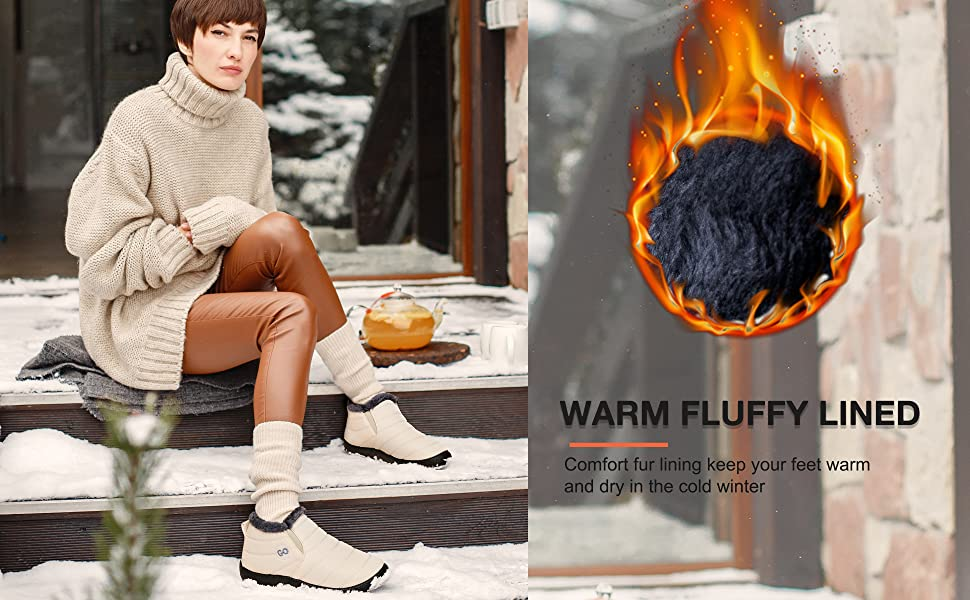 Womens Winter Snow Boots Fur Lined Warm Ankle Boots Slip On Waterproof Outdoor Booties Comfortable