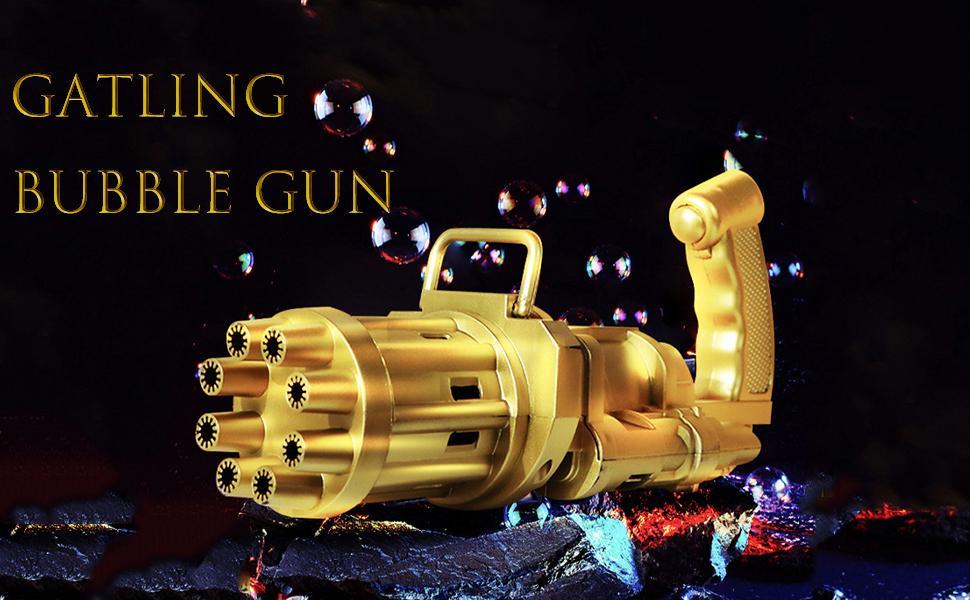 Bubble Gun, Gatling Bubble Machine Bubble Gun 8-Hole Bubble Blower Outdoor Toys for Boys and Girls